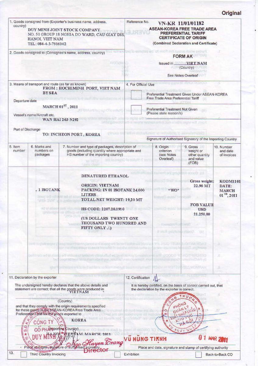 Giấy chứng nhận xuất xứ hàng hoá (CO) - Form AK